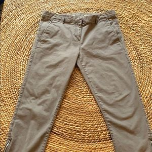 Gray Cropped Khakis with Zipper Detail